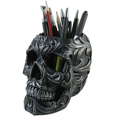 NEW Skull Shaped Pen Pencil Holder Home Office Desk Supplies Organizer Accessory