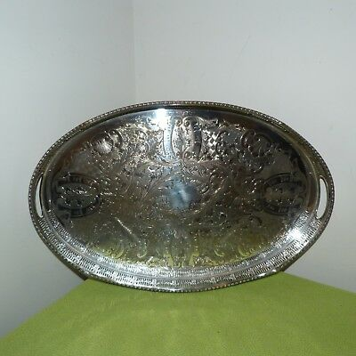 Vintage Viners Sheffield Alpha Plate Chased Oval Tray 18 inches cocktail tray