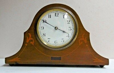 Vintage French Wind Up Mantel Clock Inlaid Wooden Surround