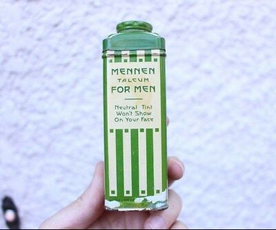 A3- Vintage Mennen Talcum Tin Talc Powder Container Advertising For Razor barber