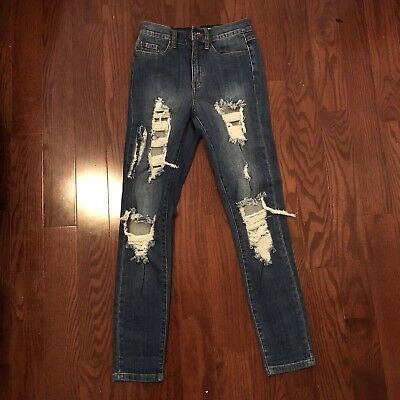 Womens Nwot Denim Ripped Jeans Size 3 Skinny