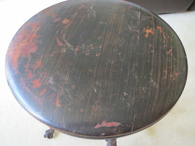 Antique Piano Stool Swivel Dark Wood Glass Clawfeet