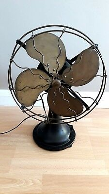 Antique Oscillating  Art Deco Brass & Steel Electric Desk Fan    Retro 1930s