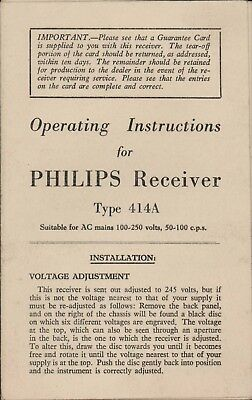Vintage PHILIPS Receiver Type 414A Operating Instructions A4.1707