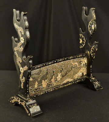 Antique Japanese 3 Sword Rack Katana Kake Black Lacquer W/ Mother Of Pearl Edo