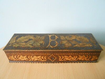 """ANTIQUE FRENCH SILK LINED POKERWORK BOX WITH INTIAL""""B"""", ART NOUVEAU c1910"""