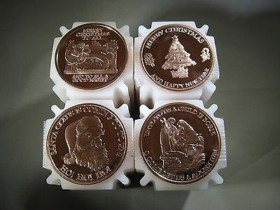 """Christmas Set"" of 4 - 1 oz.999 Copper Rounds Read for Types Snowflake Back"