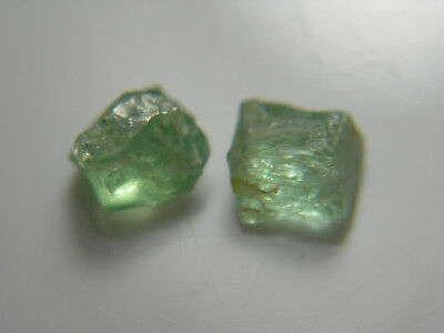 1.0ct RARE Mint Green Kornerupine gem Rough 2 pieces Tanzania gemmy facet cab