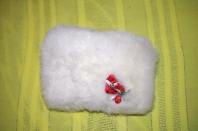 Nice childs rabbit muff white with red flowers