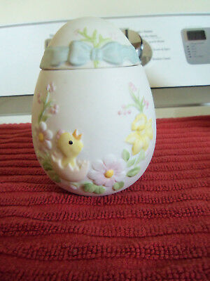 Lefton China egg w/ lid hand painted chick & spring flowers #03690