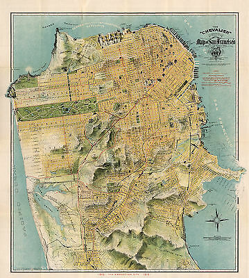 1911 Map San Francisco The Chevalier Commercial Pictorial Tourist Wall Poster