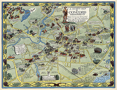 Pictorial Map Concord Massachusetts Family History Wall Art Print Poster Decor