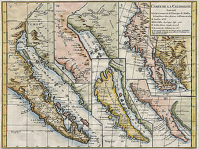 Baja California Map in Five Different States 1656-1767 Home School Wall Poster