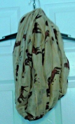 GIDDY UP Equestrian TAUPE/Horse Print Loop Soft Chiffon Scarf NWT