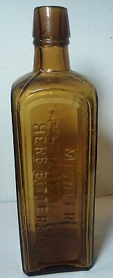 Antique Mishler's Herb Bitters Yellow Amber Bottle Graduations Mold flaws HTF