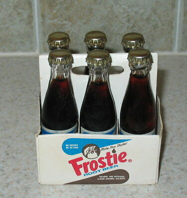 MINT Vtg 6 Pack with Carton Frostie Root Beer Miniature 3 inch Glass Bottle s