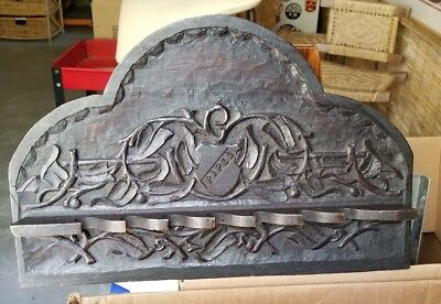 Antique Swiss Black Forest Wood Carving PIPE wall hanger HOLDER shield