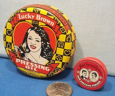 Negro Hair Pomade Tins ~ Lucky Brown 1938 + Sweet Georgia Brown 1930's - 1950's