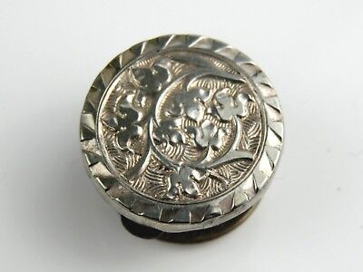 Vintage Antique Engraved Silver Fronted Sweetheart Bachelor Button Stud