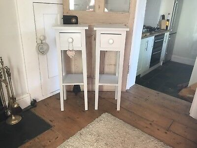 Pair Of Antique Vintage Plant Stand/Bedside Drawers Painted In F& B