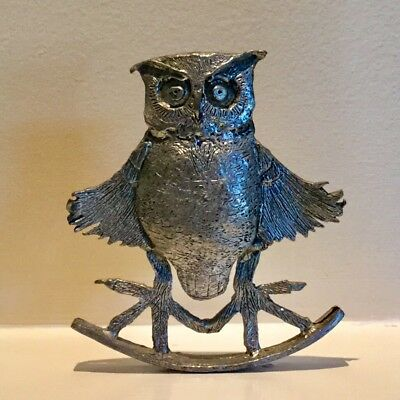 "W. Gerard Pewter Rocking Owl ""FROLIC"" Signed Marked Whimsical"