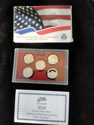 2010 America the Beautiful Quarters Silver Proof Set W/ Box & Papers