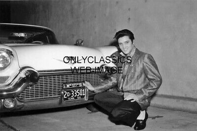 Elvis Presley & New 1957 Cadillac Auto Tennesee License Plate 12X18 Photo Poster