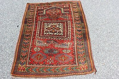 Antique dated Kazak Prayer Rug 3'2'' x 4'7''