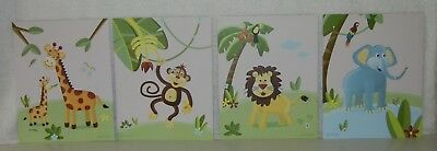 """(4) 8"""" X 10"""" Jungle Animal Prints by Beril Halis for Nursery or Child's Room"""