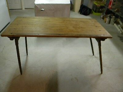 19th century seamstress wooden table with built-in yardstick, collapses