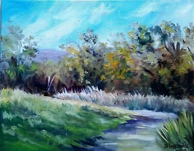 """WINDY DAY oil on canvas 16x20"""" colorful original painting of summer in Quebec"""