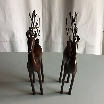 "Set of 2 Solid Metal Iron Home Decorated Deer Figurines 11 "" Tall Collectibles"