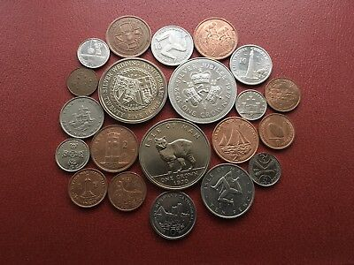 Job Lot Of 21 Old Coins From The Isle Of Man All Different As Per Photos