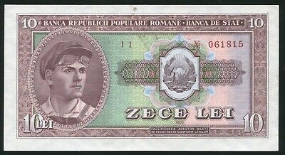y708 ROMANIA 10 LEI 1952 P#88a RED SERIAL BANKNOTE aUNC