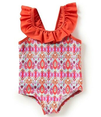 NWT Baby Girl Ikat Print 1 Piece Swimsuit w Ruffles & Bow Coral Teal & Purple