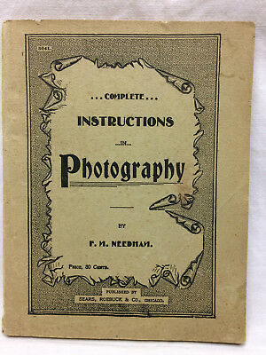 Vintage Early 1900s Sears Roebuck & Co Instructions In Photography book