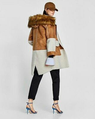 Zara camel and off white faux suede coat with fur hood size XS £90