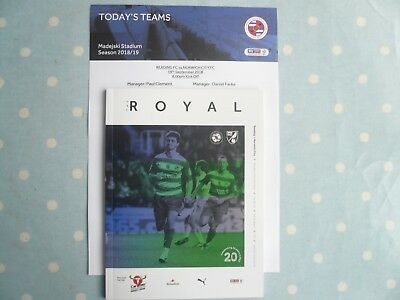 18/19 - READING v NORWICH CITY (WITH OFFICIAL TEAM SHEET) - CHAMPIONSHIP - MINT