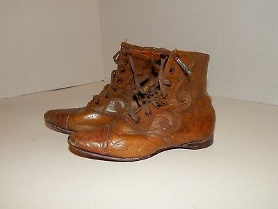 Vintage Pair Antique Victorian Leather Child's Boots*Hand Nailed on Soles*