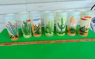 Lot of 7 Arizona Cactus Drinking Glasses Frosted Glass Vintage Blakely Oil Gas