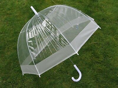 "Ladies 23"" Dome Brolly Umbrella Border Design and Hook Handle Various Colours"