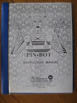 "Williams ""PINBOT"" Pinball Instruction Manual (Operation, Parts, Schematics)"