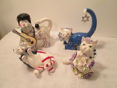 4 Whimsiclay Cat Figurines By Amy Lacombe