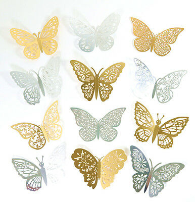 12 Piece 3D Butterflies Wall Stickers  Decorations Childrens Bedroom Silver/Gold