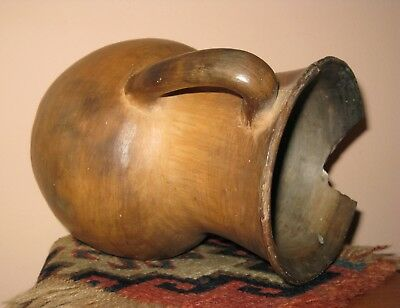 Antique Artifact Handmade Pottery Two Handled Jug AS IS