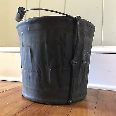 Vintage or Antique Collapsible Canvas Water Bucket Pail Military Fire Department