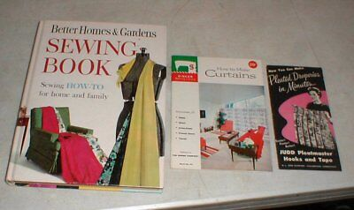 Vintage Better Homes-Gardens SEWING Book HOW-TO & Singer How to Make Curtains