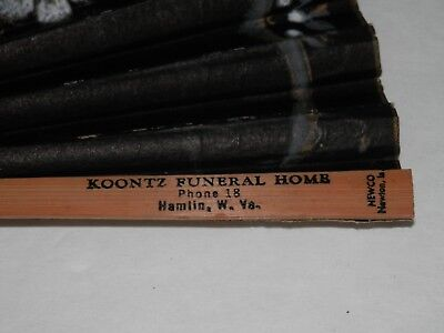 Vintage Koontz FUNERAL HOME Oriental FOLDING FAN Hamlin West Virginia Paper Wood