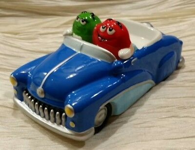 2003 Galerie Ceramic M&M's Blue Convertible Car Roadster Candy Dish Red & Green