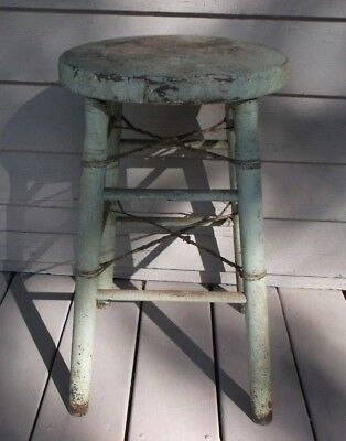 Antique Early 1900's Wood Stool With Old Green Paint/great Patina